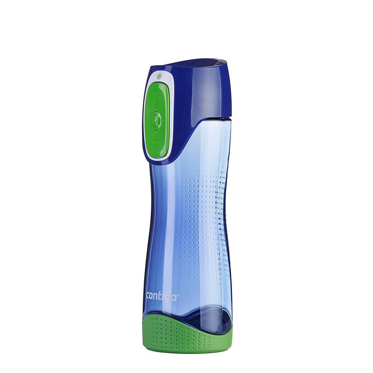 Бутылка для воды Contigo Swish, цвет: голубой, зеленый, 550 млVT-1520(SR)Бутылка для воды Contigo Swish - это замечательный сюрприз как для родных и друзей, так и для себя.Практичная и комфортная форма, а также удобный размер позволит вам всегда носить ее с собой. Кроме того, чтобы попить из бутылки вам достаточно просто нажать на кнопку, а при отпускании ее крышка автоматически закроется, исключая вытекание воды. Такая система обеспечивает полную защиту вашей воды от попадания вредных и ненужных микроорганизмов.