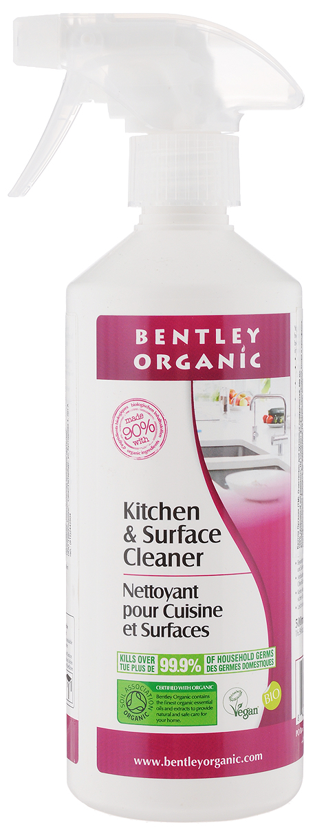 Очиститель кухонных поверхностей Bentley Organic, 500 мл4600296001116Очиститель кухонных поверхностей Bentley Organic включает в себя только 100% природные ингредиенты. Не содержит фосфатов, производных хлора и сульфатов. Содержит антибактериальную формулу. Биоразлагаем. Не загрязняет водоемы.Товар сертифицирован.