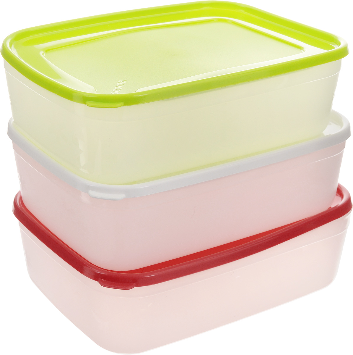 Набор контейнеров для заморозки Tescoma Purity, 1,5 л, 3 штVT-1520(SR)Набор Tescoma Purity, выполненный из высококачественного пищевого пластика, состоит из трех контейнеров с плотно закрывающимися цветными крышками. Изделия отлично подходят для хранения продуктов в морозильной камере или холодильнике. Контейнеры удобно складываются друг в друга, что экономит пространство при хранении в шкафу.Пригодны для морозильников, холодильников, микроволновых печей. При использовании в микроволновой печи всегда оставляйте крышку приоткрытой. Можно мыть в посудомоечной машине. Объем контейнера: 1,5 л.Размер контейнера (без учета крышки): 21 х 14,5 х 6,7 см.