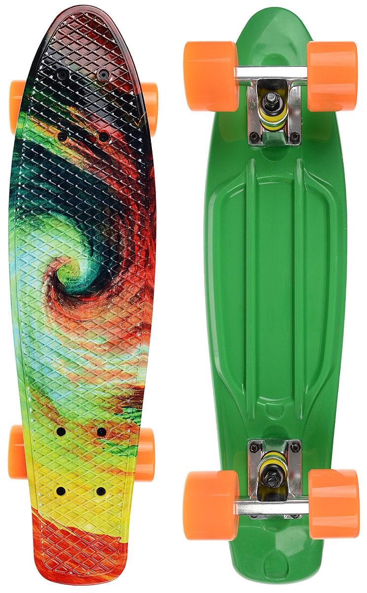 Скейтборд пластиковый Fish Твистер, дека 56 х 15 смTLS-401G _TwisterПенни борд Fish подходит для начинающих райдеров, на нем можно кататься в парках, на улице, площадках, с горок, можете добираться на нем до места работы или учебы. Несмотря на небольшие размеры, пенни развивает большую скорость и отлично лавирует. Скейт имеет небольшую длину и маленький вес, поэтому его можно убрать в рюкзак или сумку, нести в руках, он легкий и небольшой. Дека выполнена из высококачественного прочного пластика. Специальный выпуклый рисунок в виде сетки предотвращает скольжение. Подвеска - прочный алюминий. Полиуретановые колеса обеспечивают хорошее сцепление с поверхностью, быстрый разгон и торможение.