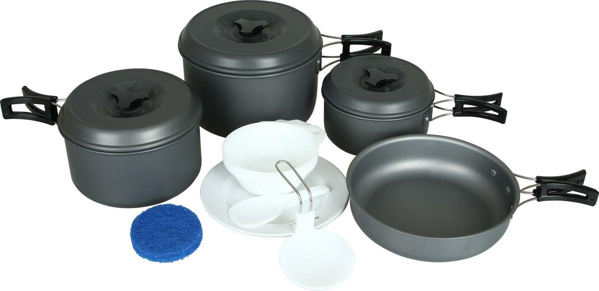Набор посуды Сплав, 17 предметовHY-TP205-3Набор посуды Сплав отлично подойдет для приготовления пищи в походе на 4-5 человек. Набор компактно складывается и не занимает много места. Изделия легко моются, а твердый защитный слой, полученный при анодировании, защищает поверхность от коррозии и царапин. Кастрюли и сковородка изготовлены из анодированного алюминия. Специальные крышки ускоряют процесс приготовления пищи и предохраняют ее от насекомых и мелкого мусора. Ручки складываются, позволяя компактно упаковывать посуду. Складной половник, ложка-лопатка и тарелки изготовлены из качественного полипропилена. Для сервировки стола предлагаются 7 тарелок из полипропилена. А специальная губка позволит вам легко отмыть посуду даже в ледяной воде горных речек.Состав набора:Кастрюля с крышкой и складной ручкой:диаметр: 140 мм, высота: 70 мм, объем: 800 мл, вес кастрюли: 144 г, вес крышки: 66 г.Кастрюля с крышкой и складной ручкой: диаметр: 165 мм, высота: 90 мм, объем: 1600 мл, вес кастрюли: 210 г, вес крышки: 86 г.Кастрюля с крышкой и складной ручкой:диаметр: 184 мм, высота: 110 мм, объем: 2500 мл, вес кастрюли: 253 г, вес крышки: 99 г.Сковородка со складной ручкой:диаметр: 187 мм, высота: 50 мм, объем: 1200 мл, вес: 234 г.Глубокая тарелка, 5 шт:диаметр: 113 мм, высота: 40 мм, вес: 22 г.Плоская тарелка, 2 шт: диаметр: 180 мм, высота: 20 мм, вес: 41 г.Складной половник, 1 шт: размер: 80 х 50 мм, вес: 22 г.Ложка-лопатка, 1 шт: размер: 130 х 55 мм, вес: 13 г.Губка, 1 шт: диаметр: 80 мм, высота: 25 мм, вес: 5 г.Количество предметов: 17 шт.Общий вес с чехлом : 1358 г.