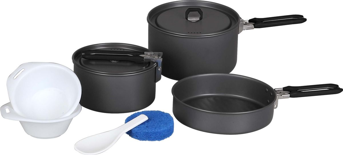 Набор посуды Сплав Flex, 10 предметовWS 7064Набор посуды Сплав Flex отлично подойдет для приготовления пищи в походе на 2-3 человек. Набор компактно складывается и не занимает много места. Изделия легко моются, а твердый защитный слой, полученный при анодировании, защищает поверхность от коррозии и царапин. Кастрюли и сковородка изготовлены из анодированного алюминия. Специальные крышки ускоряют процесс приготовления пищи и предохраняют ее от насекомых и мелкого мусора. Ручки складываются, позволяя компактно упаковывать посуду. Ложка-лопатка и тарелки изготовлены из качественного полипропилена. Для сервировки стола предлагаются 2 тарелки из полипропилена. А специальная губка позволит вам легко отмыть посуду даже в ледяной воде горных речек.Состав набора:Малая кастрюля с крышкой и складной ручкой: диаметр: 145 мм, высота: 75 мм, объем: 800 мл.Средняя кастрюля с крышкой и складной ручкой: диаметр: 168 мм, высота: 100 мм, объем: 1000 мл.Сковородка со складной ручкой: диаметр: 178 мм, высота: 43 мм.Глубокая тарелка, 2 шт: диаметр: 115 мм, высота: 40 мм.Ложка-лопатка, 1 шт: размер: 135 х 55 мм.Губка, 1 шт: диаметр: 80 мм, высота: 25 мм, вес: 5 г.Сетчатый мешок для переноски и хранения - 1 шт.Количество предметов: 10 шт.Общий вес: 760 г.