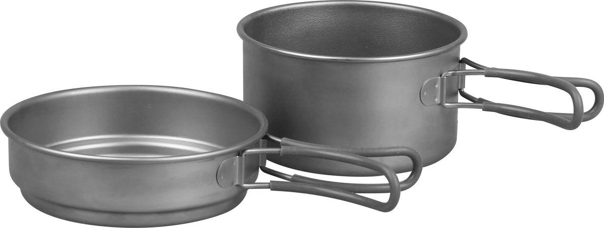Набор посуды Сплав, титановый, 2 предмета5116225Набор посуды Сплав отлично подойдет для приготовления пищи в походе на 1-2 человек. Набор компактно складывается и не занимает много места. Благодаря подвижным отделанным силиконом ручкам, кастрюльками удобно пользоваться во время готовки. Размеры емкостей подобраны таким образом, что сковородка может служить крышкой для кастрюли. Таким образом, пока вы кипятите воду, одновременно можно подогреть, например, оставшуюся после ужина еду. Посуда обладает антикоррозийным свойством. Изделия быстро и легко моются.Состав набора: Сковорода: объем: 800 мл, размер: 180 х 40 мм.Кастрюля: объем: 1250 мл, размер: 170 х 70 мм.Общий вес: 273 г.