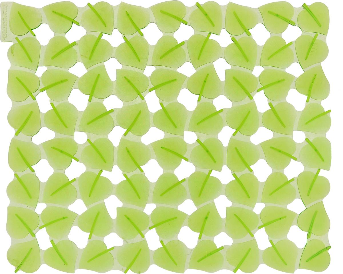 Коврик для раковины Tescoma Листочки, цвет: светло-зеленый, 32 x 28 см531-105Стильный и удобный коврик для раковины Tescoma Листочки изготовлен из эластичного пластика. Он одновременно выполняет несколько функций: украшает, защищает мойку от царапин и сколов, смягчает удары при падении посуды в мойку. Коврик также можно использовать для сушки посуды, фруктов и овощей. Он легко очищается отгрязи и жира. Можно мыть в посудомоечной машине.