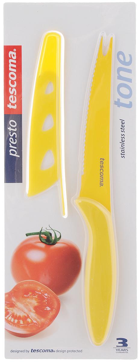 Нож для нарезки овощей Tescoma Presto, с чехлом, цвет: желтый, длина лезвия 13,5 см863084_желтыйНож Tescoma Presto предназначен специально для бережного нарезания овощей. Лезвие выполнено из высококачественной нержавеющей стали с антиадгезивным покрытием, а ручка из прочного пластика. Продукты не прилипают к лезвию. Изделие легко чистится. В комплект входит защитный чехол для бережного хранения. Можно мыть в посудомоечной машине, не рекомендуется использовать металлические губки и абразивные чистящие средства. Общая длина ножа: 23 см.Длина лезвия: 13,5 см.