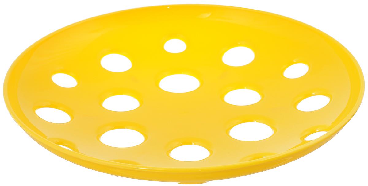 Миска широкая Tescoma Vitamino, цвет: желтый, диаметр 31 см115510Широкая миска Tescoma Vitamino изготовлена из прочного пластика. Она прекрасно подходит для хранения свежих овощей и фруктов - яблок, груш, бананов, цитрусовых, ананасов, а также перца, помидор и других. Изделие имеет большие отверстия для максимального доступа воздуха к хранимым продуктам, которые дозревают естественным путем и дольше остаются свежими. Подходит для ополаскивания под проточной водой. Можно использовать в холодильнике и мыть в посудомоечной машине. Диаметр (по верхнему краю): 31 см.