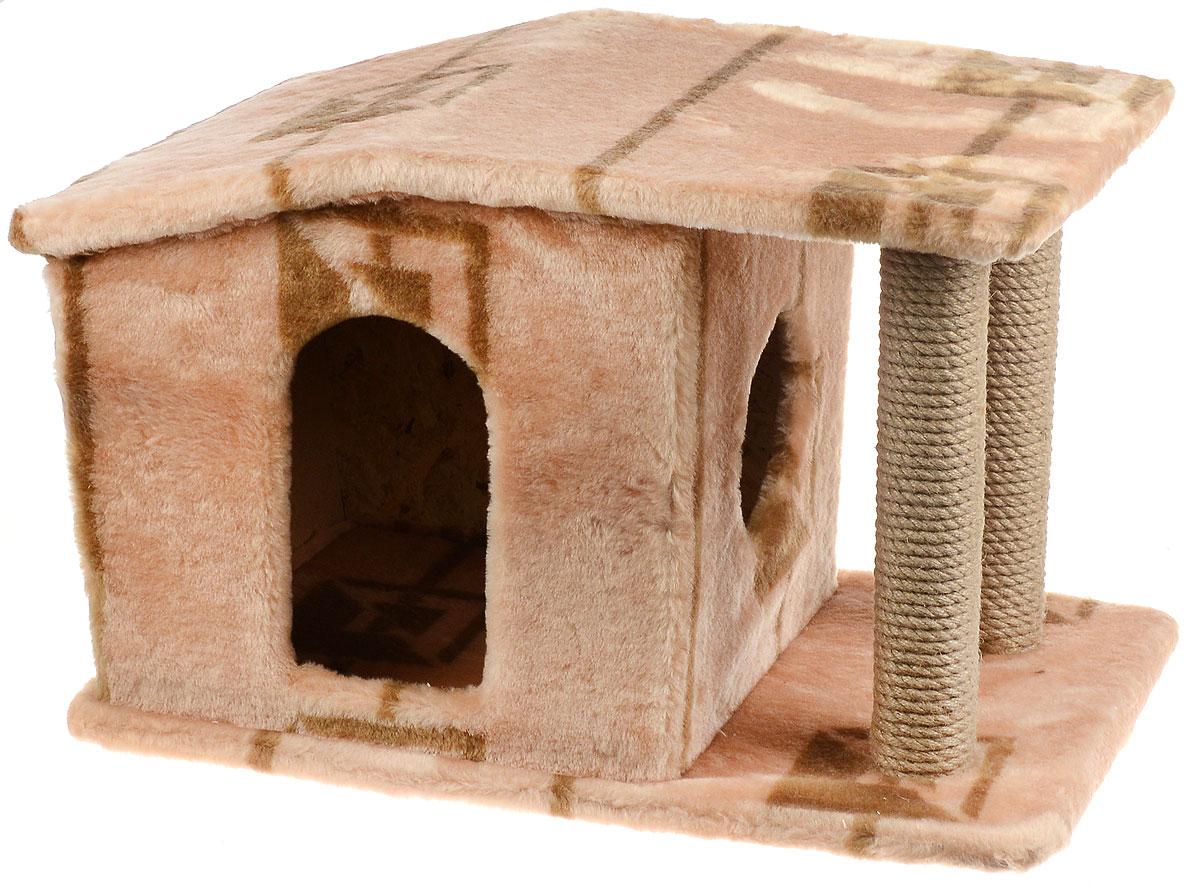 Игровой комплекс для кошек Меридиан Патриция, с домиком и когтеточкой, цвет: коричневый, бежевый , 63 х 40 х 41 см0120710Игровой комплекс для кошек Меридиан Патриция выполнен из высококачественного ДВП и ДСП и обтянут искусственным мехом. Изделие предназначено для кошек. Ваш домашний питомец будет с удовольствием точить когти о специальные столбики, изготовленные из джута. А отдохнуть он сможет в оригинальном домике.