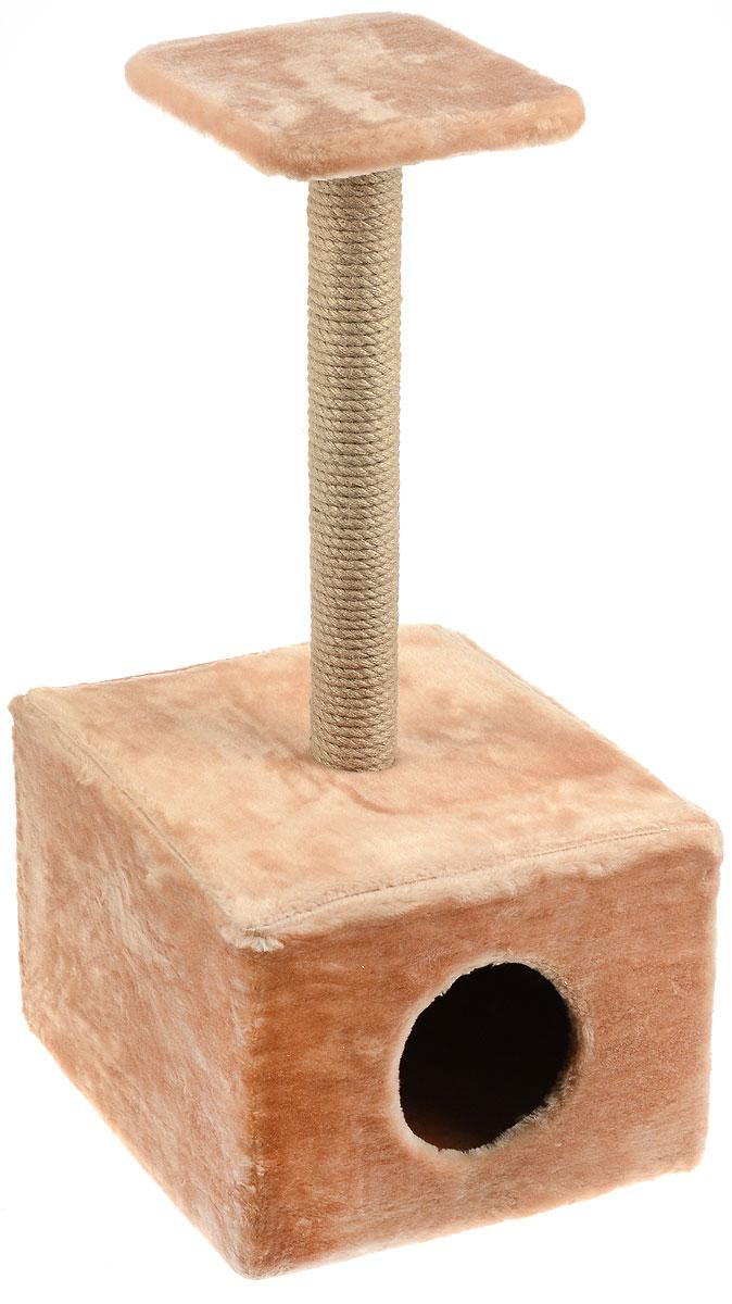 Игровой комплекс для кошек Меридиан, с полкой и домиком, цвет: светло-коричневый, бежевый, 39 х 39 х 80 см405217Игровой комплекс для кошек Меридиан выполнен из высококачественного ДВП и ДСП и обтянут искусственным мехом. Изделие предназначено для кошек. Ваш домашний питомец будет с удовольствием точить когти о специальный столбик, изготовленный из джута. А отдохнуть он сможет либо на полке, находящейся наверху столбика, либо в расположенном внизу домике.Общий размер: 39 х 39 х 80 см.Размер полки: 24 х 24 см.Размер домика: 39 х 39 х 30 см.