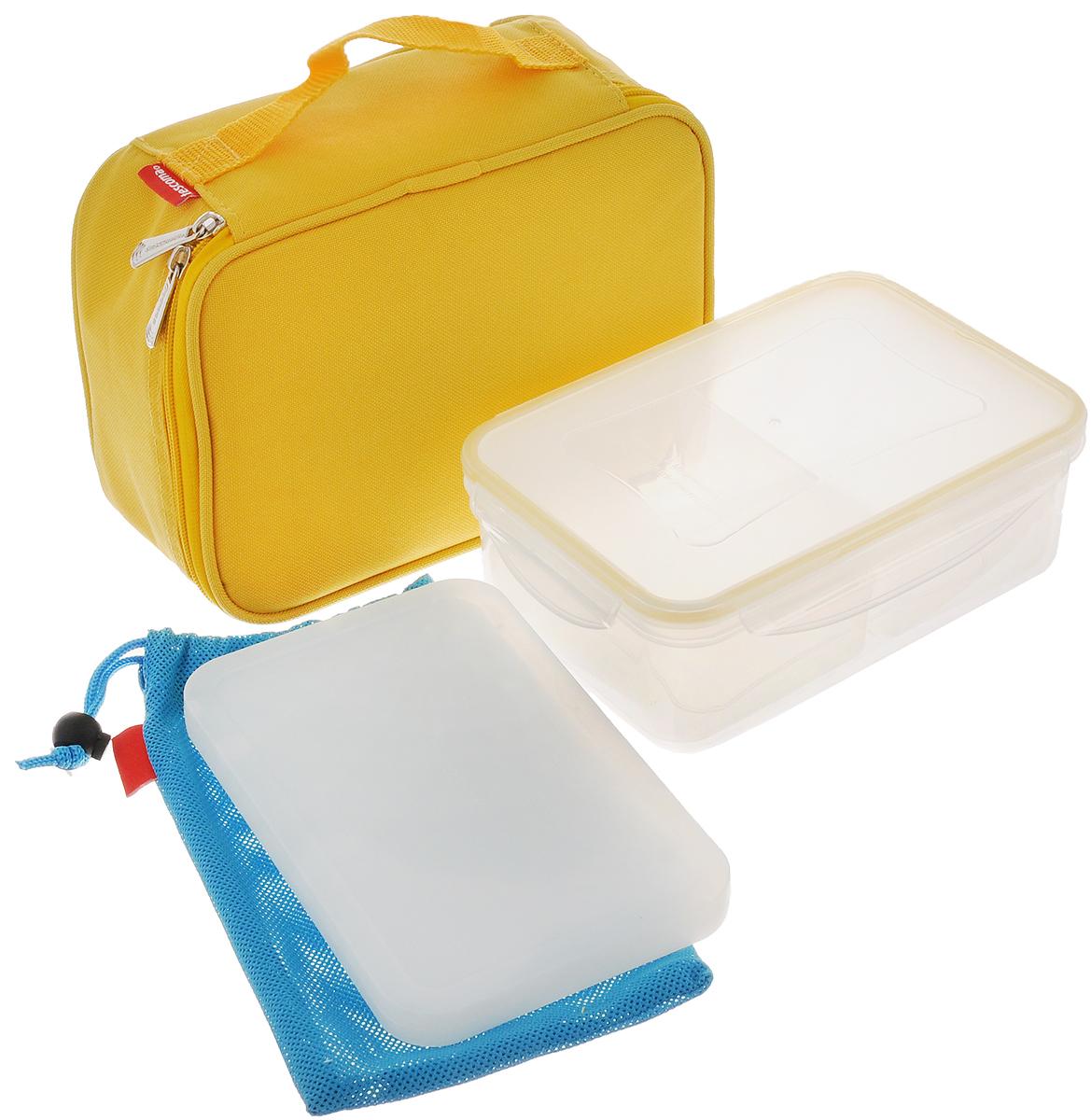 Термосумка Tescoma Сoolbag, с гелевым охладителем, с контейнером, цвет: желтый, 24 х 18 х 9,5 см802900_черный, голубойТермосумка Tescoma Сoolbag отлично подходит для хранения охлажденных фруктов, салатов, соусов, десертов и многого другого. В жаркий день блюда остаются холодными, при переноске не вытекают.Сумка, выполненная из полиэстера, имеет эффективную теплоизоляционную подкладку с алюминиевой фольгой. Изделие закрывается на молнию, снабжено боковой ручкой для удобной переноски. Внутри сетчатый карман для столовых приборов. Благодаря своим компактным размерам поместится в любую сумку. Гелевый охладитель позволит сохранить свежесть и вкус продуктов, а чехол обеспечит защиту против конденсации.В комплекте с термосумкой поставляется пищевой контейнер, выполненный из пластика. Контейнер оснащен двумя вкладышами для раздельного хранения двух различных продуктов одновременно. Крышка с силиконовой прослойкой и защелками с четырех сторон полностью герметична. Такой контейнер водонепроницаем, отлично подходит даже для переноски жидких блюд. Не впитывает запахов и не окрашивается в цвет пищи, материал изделия приятен на ощупь. Термосумка подходит для ручной стирки. Контейнер можно использовать для разогревания пищи в микроволновой печи, а также для замораживания продуктов. Легко моется в посудомоечной машине. Гелевый охладитель подходит для использования в морозильной камере. Не рекомендуется мыть в посудомоечной машине.Размер контейнера: 22 х 15,5 х 7,5 см. Размер вкладыша для контейнера: 12,7 х 9,8 х 5,6 см. Размер охладителя: 19,3 х 12,6 х 1,5 см.Размер термосумки: 24 х 18 х 9,5 см.