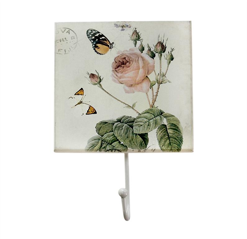 Крючок Miolla Белая роза, цвет: белый, 11 х 17,5 см7708-28