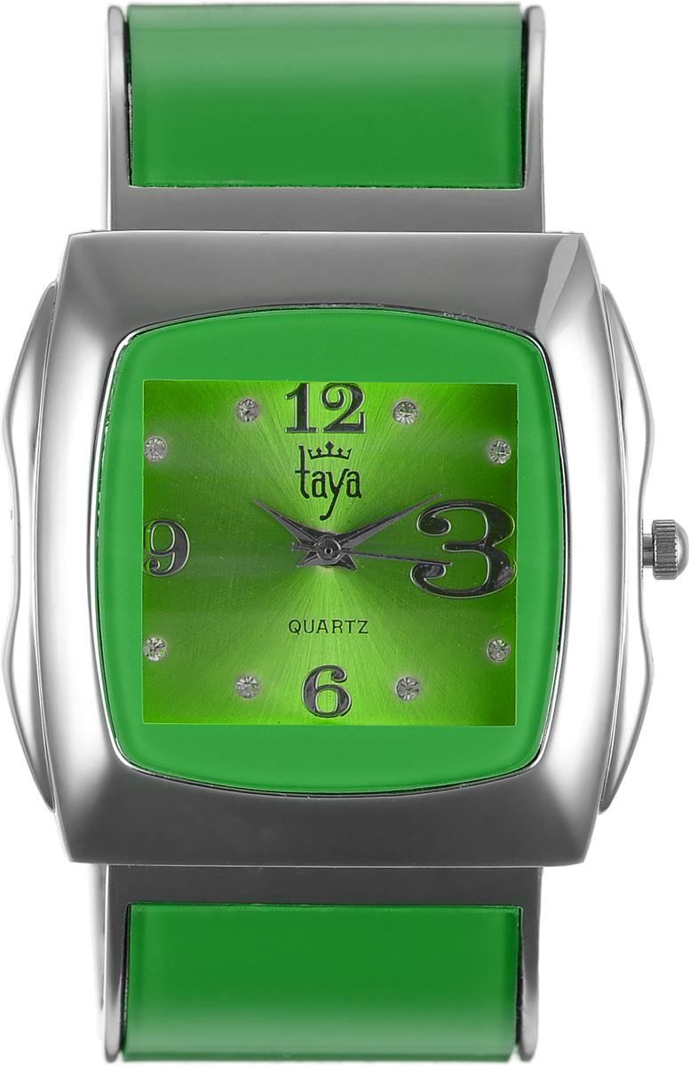 Часы наручные женские Taya, цвет: серебряный, зеленый. T-W-0438BM8434-58AEЭлегантные женские часы Taya выполнены из металлического сплава, минерального стекла и нержавеющей стали. Циферблат часов инкрустирован стразами и оформлен символикой бренда.Корпус часов оснащен кварцевым механизмом со сменным элементом питания и дополнен раздвижным браслетом с пружинным механизмом, который позволяет надеть часы на любую руку.Часы поставляются в фирменной упаковке.Часы Taya подчеркнут изящность женской руки и отменное чувство стиля у их обладательницы.