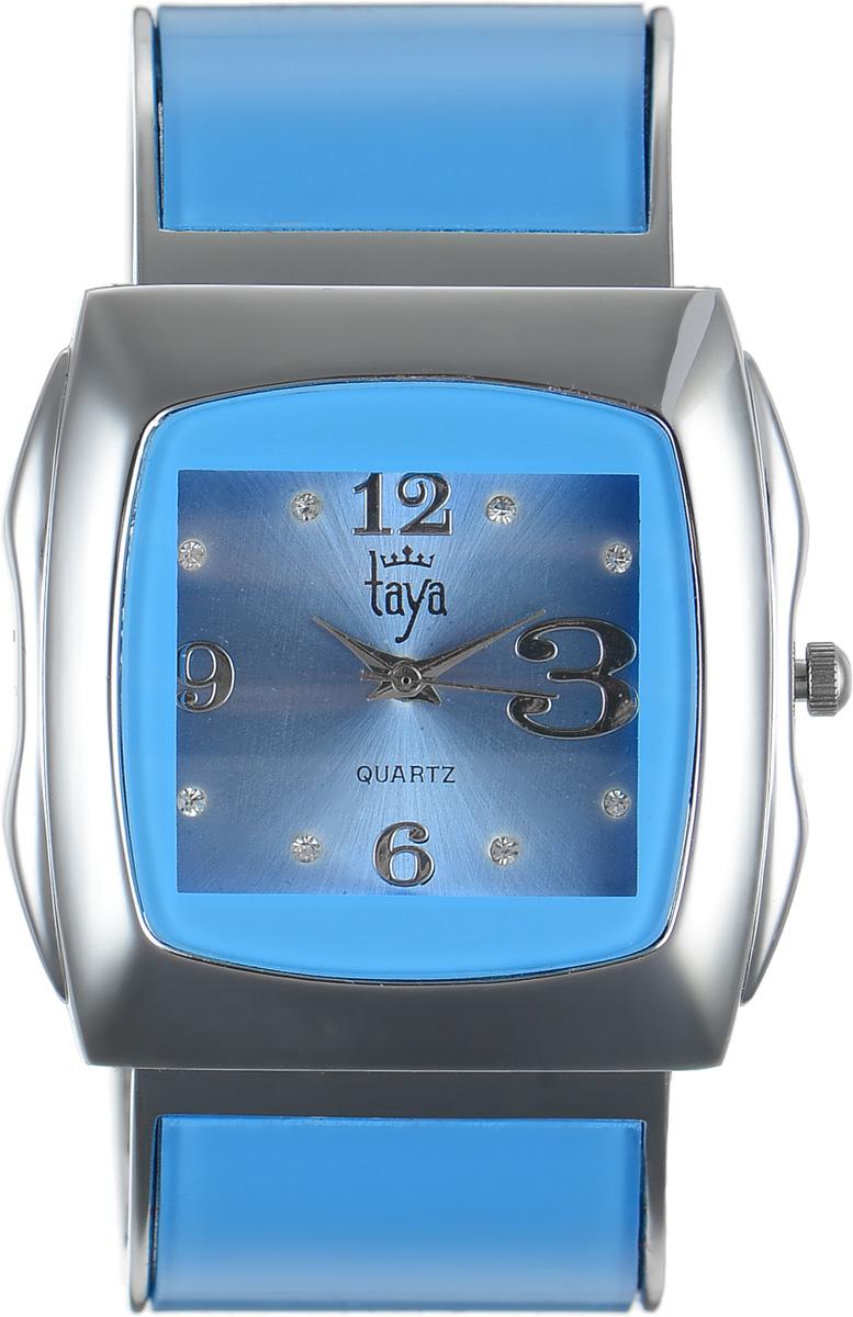 Часы наручные женские Taya, цвет: серебряный, голубой. T-W-0436BM8434-58AEЭлегантные женские часы Taya выполнены из металлического сплава, минерального стекла и нержавеющей стали. Циферблат часов инкрустирован стразами и оформлен символикой бренда.Корпус часов оснащен кварцевым механизмом со сменным элементом питания и дополнен раздвижным браслетом с пружинным механизмом, который позволяет надеть часы на любую руку.Часы поставляются в фирменной упаковке.Часы Taya подчеркнут изящность женской руки и отменное чувство стиля у их обладательницы.