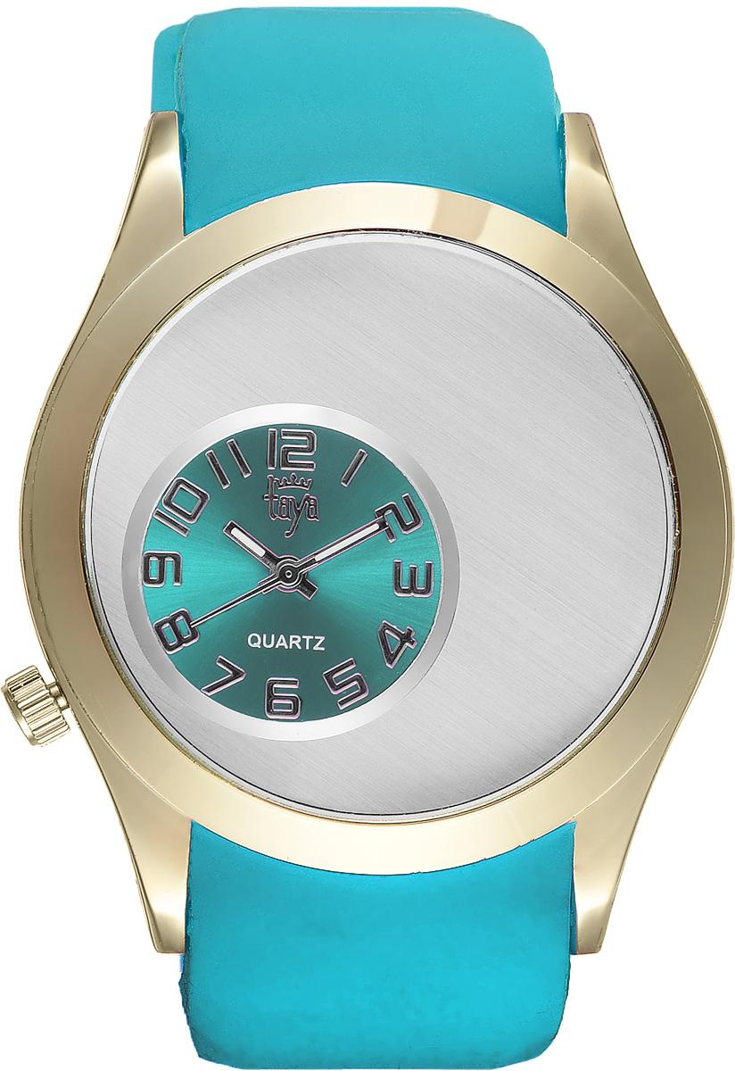 Часы наручные женские Taya, цвет: золотой, бирюзовый. T-W-0234BM8434-58AEЭлегантные женские часы Taya выполнены из минерального стекла, силикона и нержавеющей стали. Уменьшенный циферблат часов оформлен символикой бренда.Корпус часов оснащен кварцевым механизмом со сменным элементом питания и дополнен силиконовым ремешком с внутренним тиснением, благодаря которому часы плотно прилегают к запястью. Ремешок застегивается на практичную пряжку.Часы поставляются в фирменной упаковке.Часы Taya подчеркнут изящность женской руки и отменное чувство стиля у их обладательницы.