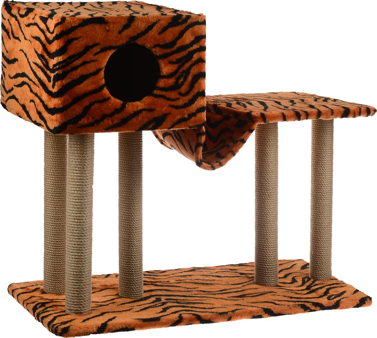 Игровой комплекс для кошек Меридиан, с домиком и гамаком, цвет: оранжевый, черный, бежевый, 90 х 40 х 80 см0120710Игровой комплекс для кошек Меридиан выполнен из высококачественного ДВП и ДСП и обтянут искусственным мехом. Изделие предназначено для кошек. Ваш домашний питомец будет с удовольствием точить когти о специальные столбики, изготовленные из джута. А отдохнуть он сможет в домике, на полках или в удобном гамаке.Общий размер: 90 х 40 х 80 см.Размер основания: 90 х 40 см.Высота полки: 53 см.Размер домика: 40 х 40 х 28 см.Размер полки: 39 х 39 см.