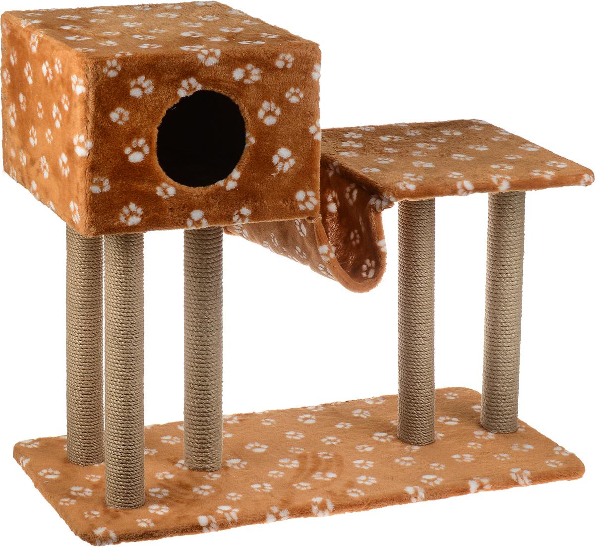 Игровой комплекс для кошек Меридиан, с домиком и гамаком, цвет: коричневый, белый, бежевый, 90 х 40 х 80 см0120710Игровой комплекс для кошек Меридиан выполнен из высококачественного ДВП и ДСП и обтянут искусственным мехом. Изделие предназначено для кошек. Ваш домашний питомец будет с удовольствием точить когти о специальные столбики, изготовленные из джута. А отдохнуть он сможет в домике, на полках или в удобном гамаке.Общий размер: 90 х 40 х 80 см.Размер основания: 90 х 40 см.Высота полки: 53 см.Размер домика: 40 х 40 х 28 см.Размер полки: 39 х 39 см.