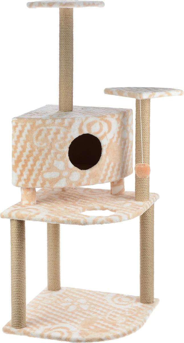 Игровой комплекс для кошек Меридиан, с домиком и когтеточкой, цвет: белый, бежевый, 55 х 55 х 140 см0120710Игровой комплекс для кошек Меридиан выполнен из высококачественного ДВП и ДСП и обтянут искусственным мехом. Изделие предназначено для кошек. Комплекс имеет 3 яруса. Ваш домашний питомец будет с удовольствием точить когти о специальные столбики, изготовленные из джута. А отдохнуть он сможет либо на полках, либо в домике. На одной из полок расположена игрушка, которая еще сильнее привлечет внимание питомца.Общий размер: 55 х 55 х 140 см.Размер домика: 42 х 42 х 31 см.Размер полок: 26 х 26 см.Размер нижнего яруса: 55 х 55 см.