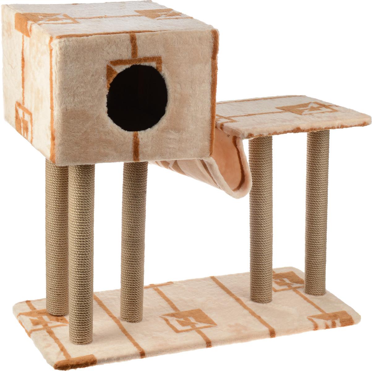 Игровой комплекс для кошек Меридиан, с домиком и гамаком, цвет: бежевый, коричневый, 90 х 40 х 80 см405230/25368_бежевыйИгровой комплекс для кошек Меридиан выполнен из высококачественного ДВП и ДСП и обтянут искусственным мехом. Изделие предназначено для кошек. Ваш домашний питомец будет с удовольствием точить когти о специальные столбики, изготовленные из джута. А отдохнуть он сможет в домике, на полках или в удобном гамаке.Общий размер: 90 х 40 х 80 см.Размер основания: 90 х 40 см.Высота полки: 53 см.Размер домика: 40 х 40 х 28 см.Размер полки: 39 х 39 см.