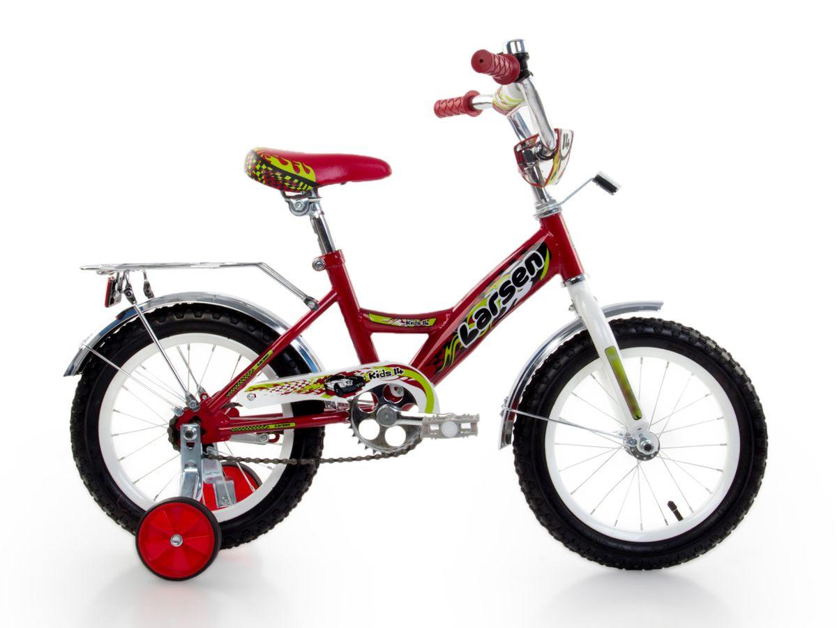 Велосипед детский Larsen Kids 14, цвет: красный163NEPTUN.BL5Велосипед детский Larsen Kids 14 - велосипед для вашего ребенка. Он снабжен двумя дополнительными страховочными колесиками - для того, чтобы ваш малыш мог легко и безопасно научиться держать равновесие, а затем и самостоятельно кататься на двухколесном велосипеде. Когда ребенок будет уже уверенно держаться в седле, страховочные колесики можно снять, превратив велосипед в двухколесный.Велосипед создан с учетом максимальной безопасности для малышей. Форма стальной рамы позволяет без лишних усилий забираться и сходить с велосипеда. Цепь и вращающиеся шестеренки четырехколесного друга спрятаны в защитный короб, исключая попадание туда одежды и малейшую возможность случайно поцарапаться. Защитные крылья спасают от грязи и не дают ребенку испачкаться даже после дождя.Велосипед имеет всего одну скорость - это для того, чтобы малыши не разгонялись очень сильно и не считали потом синяки. Вовремя остановиться поможет удобный ножной тормоз. А если торможение получится неожиданно резкое, то для этого на руле предусмотрена специальная мягкая накладка, чтобы максимально смягчить возможное столкновение.Характеристики:Рама: сталь. Вилка: жесткая, сталь.Количество скоростей: 1. Размер колес: 14. Резина: 14х2.125; BMX PATTERN. Передний переключатель: нет. Задний переключатель: нет. Обода: стальные усиленные 14. Тормоза: втулочные, ножные тормоза. Дополнительное оборудование: гудок, отражатели, дополнительные колеса, крылья.
