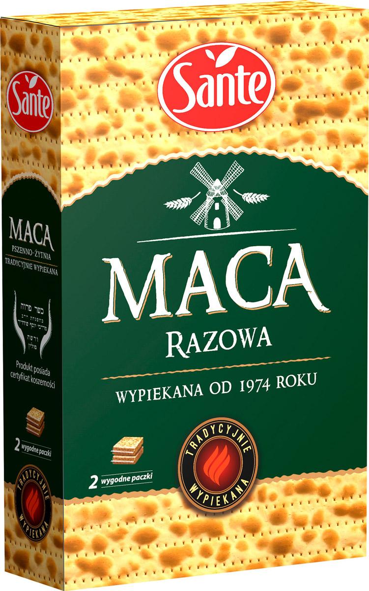 Sante маца цельнозерновая, 180 г0120710Маца Sante является традиционным хлебом с низким содержанием жира, который не содержит кислоты, образующиеся в процессе брожения, что делает ее чрезвычайно легкой при быстром усваивании организмом.Маца заменяет хлеб, является традиционной закуской (с сыром, ветчиной и овощами).
