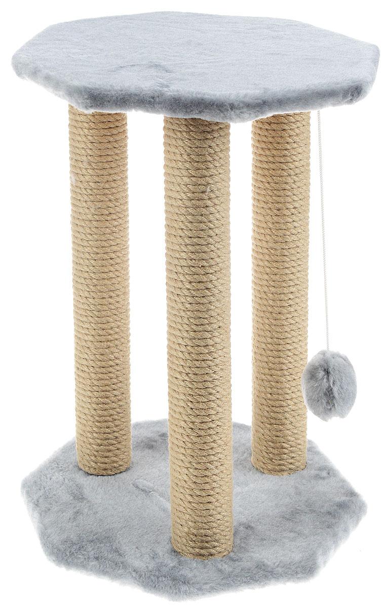 Когтеточка Меридиан Ротонда, с игрушкой, цвет: светло-серый, бежевый, 35 х 35 х 54 смК022Когтеточка Меридиан Ротонда поможет сохранить мебель и ковры в доме от когтей вашего любимца, стремящегося удовлетворить свою естественную потребность точить когти. Когтеточка изготовлена из ДСП, искусственного меха и джута. Товар продуман в мельчайших деталях и, несомненно, понравится вашей кошке. Подвесная игрушка привлечет внимание питомца. Сверху имеется полка, на которой кошка сможет отдохнуть.Всем кошкам необходимо стачивать когти. Когтеточка - один из самых необходимых аксессуаров для кошки. Для приучения к когтеточке можно натереть ее сухой валерьянкой или кошачьей мятой. Когтеточка поможет вашему любимцу стачивать когти и при этом не портить вашу мебель.