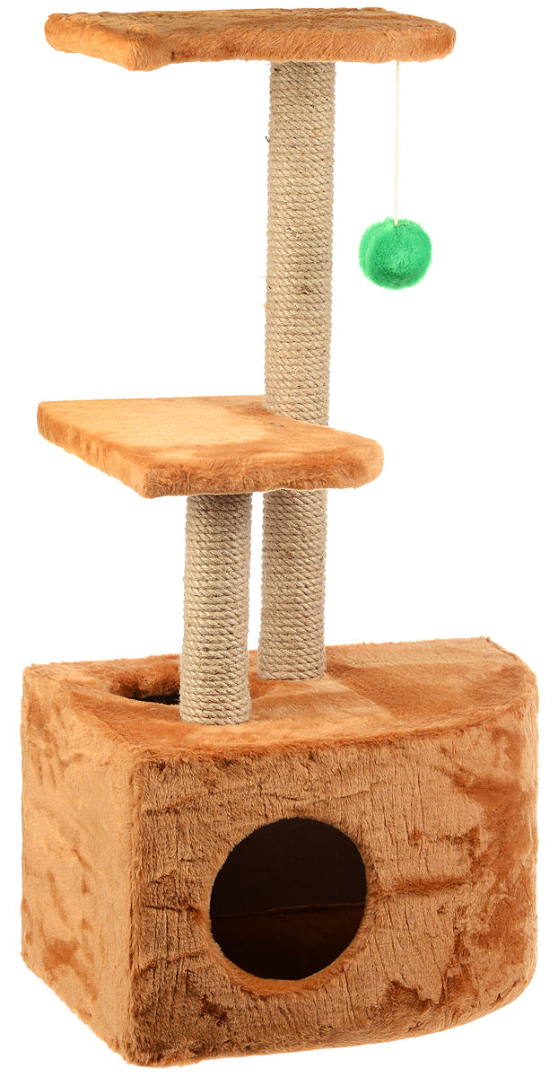 Домик-когтеточка ЗооМарк Мурзик, угловой, с полками, цвет: светло-коричневый, бежевый, 51 х 37 х 99 см0120710Домик-когтеточка ЗооМарк Мурзик выполнен из высококачественного дерева и обтянут искусственным мехом. Изделие предназначено для кошек. Ваш домашний питомец будет с удовольствием точить когти о специальные столбики, изготовленные из джута. А отдохнуть он сможет либо на полках, либо в расположенном внизу домике.Общий размер: 51 х 37 х 99 см.Размер домика: 51 х 37 х 31 см.Размер полок: 36 х 26 см.