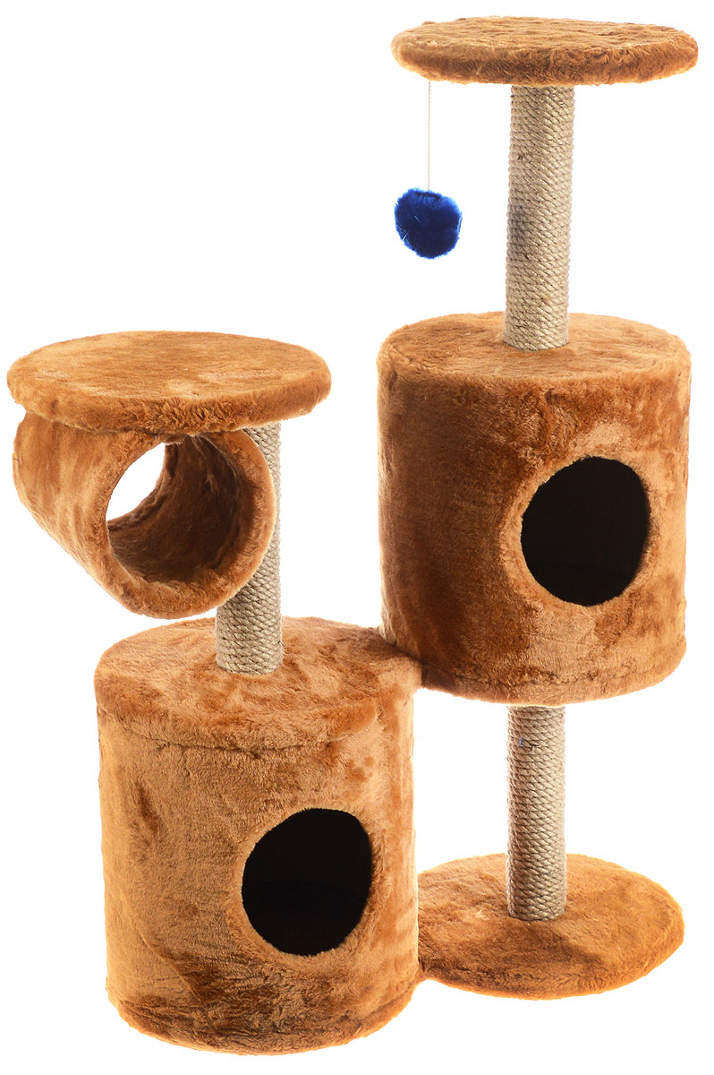 Игровой комплекс для кошек ЗооМарк Базилио, цвет: коричневый, бежевый, 70 х 31 х 97 см0120710Игровой комплекс для кошек ЗооМарк Базилио выполнен из высококачественного дерева и обтянут искусственным мехом. Изделие предназначено для кошек. Ваш домашний питомец будет с удовольствием точить когти о специальные столбики, изготовленные из джута. А отдохнуть он сможет либо на полках разной высоты, либо в домиках. Также комплекс оснащен подвесной игрушкой, привлекающей внимание кошки.Общий размер: 70 х 31 х 97 см.Размер домиков: 31 х 31 х 32 см.Диаметр полок: 31 см.