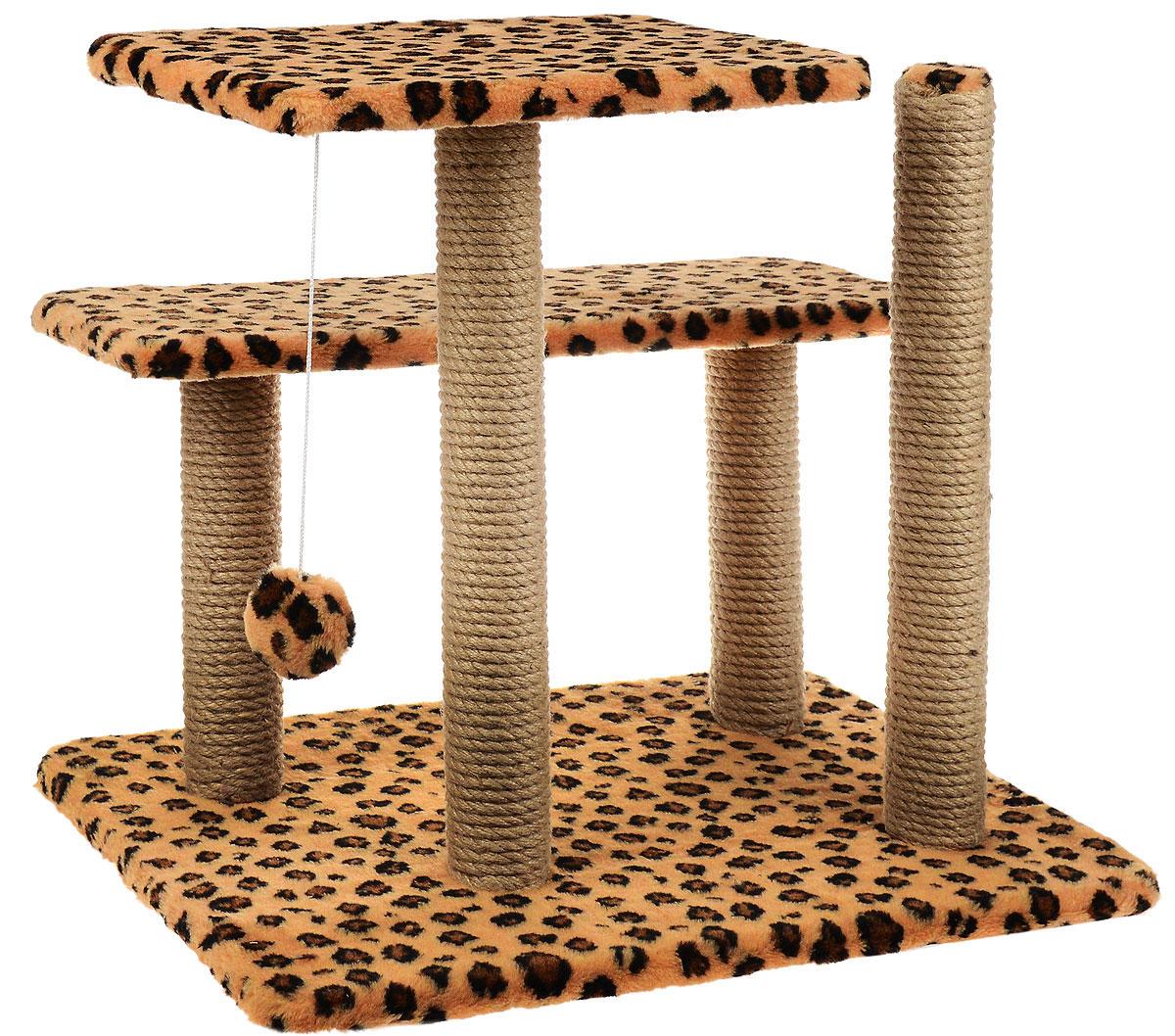 Игровой комплекс для кошек Меридиан, с игрушкой и когтеточками, цвет: коричневый, черный, бежевый, 61 х 41 х 53 см0120710Игровой комплекс поможет сохранить мебель и ковры в доме от когтей вашего любимца, стремящегося удовлетворить свою естественную потребность точить когти. Изделие изготовлено из ДСП, искусственного меха и джута. Товар продуман в мельчайших деталях и, несомненно, понравится вашей кошке. Имеется 2 полки и игрушка, которая привлечет внимание питомца.Общий размер: 61 х 41 х 53 см.Размер полок: 41 х 26 см, 61 х 21 см.Высота полок: 53 см, 33 см.