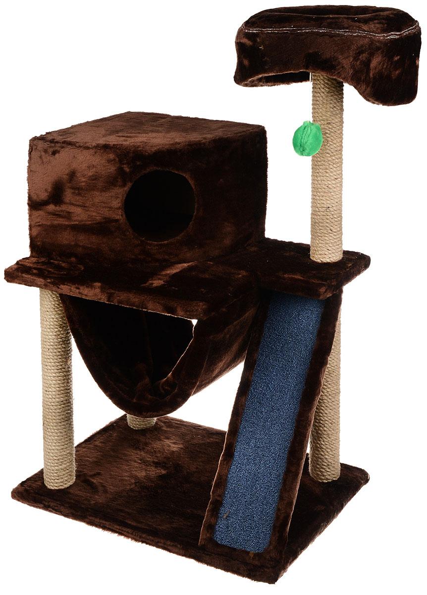 Игровой комплекс для кошек ЗооМарк Мурка, цвет: темно-коричневый, бежевый, 60 х 45 х 120 см12171996Игровой комплекс для кошек ЗооМарк Мурка выполнен из высококачественного дерева и обтянут искусственным мехом. Изделие предназначено для кошек. Комплекс имеет 3 яруса. Ваш домашний питомец будет с удовольствием точить когти о специальные столбики, изготовленные из джута. Также точить когти поможет площадка, оснащенная вставкой из ковролина. А отдохнуть он сможет либо на полках, либо домике или гамаке. На одной из полок расположена игрушка, которая еще сильнее привлечет внимание питомца.Общий размер: 60 х 45 х 120 см.Размер домика: 37 х 37 х 25 см.Диаметр верхней полки: 30 см.Уважаемые покупатели!Обращаем ваше внимание на тот факт, что размеры могут незначительно отличаться в пределах 3-4 см в высоту и ширину.
