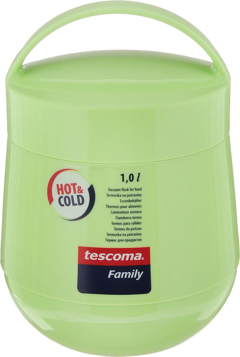 Термос для продуктов Tescoma Family, цвет: фисташковый, 1 л. 310582203-1000_черныйТермос для продуктов Tescoma Family пригодится в любой ситуации: будь то экстремальный поход, пикник или поездка. Корпус термоса выполнен из высококачественного цветного пластика. Колба термоса изготовлена из стекла, которое является экологически чистым материалом и прекрасно держит температуру. Изделие, оснащенное эргономичной ручкой, предназначено для хранения и переноски теплых и холодных блюд. В комплекте поставляется две пластиковые емкости и универсальная крышка. Емкости вкладываются в изоляционную колбу. Они предназначены для продуктов с высоким содержанием жиров, сахара либо кислот, а также блюд, которые тяжело отмываются со стенок стеклянной колбы. Нейтральные продукты можно хранить непосредственно в самой колбе.Термос Tescoma Family - это идеальный вариант для большой компании и дальней поездки. Не рекомендуется мыть в посудомоечной машине.Диаметр термоса (по верхнему краю): 13 см.Высота термоса (без учета крышки): 15 см.Диаметр малой чаши (по верхнему краю): 12 см.Высота малой чаши: 4,5 см.Диаметр большой чаши (по верхнему краю): 12,3 см.Высота большой чаши: 16,5 см.Диаметр крышки: 13 см.
