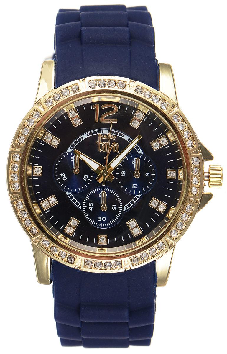 Часы наручные женские Taya, цвет: золотистый, темно-синий. T-W-0213BM8434-58AEСтильные женские часы Taya выполнены из минерального стекла, силикона и нержавеющей стали. Циферблат и корпус часов инкрустированы стразами и оформлены символикой бренда.Корпус часов оснащен кварцевым механизмом со сменным элементом питания, а также силиконовым ремешком с практичной пряжкой. Циферблат дополнен тремя декоративными отметками. На стрелки нанесен светящийся состав.Часы поставляются в фирменной упаковке.Часы Taya подчеркнут изящность женской руки и отменное чувство стиля у их обладательницы.