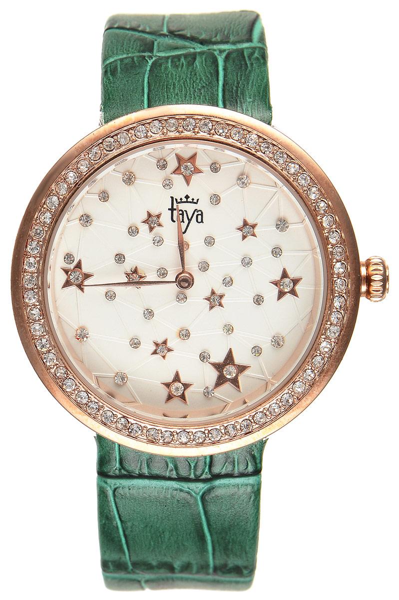 Часы наручные женские Taya, цвет: золотистый, зеленый. T-W-0042BM8434-58AEЭлегантные женские часы Taya выполнены из минерального стекла, натуральной кожи и нержавеющей стали. Циферблат и корпус часов украшены стразами и символикой бренда.Корпус часов оснащен кварцевым механизмом со сменным элементом питания, а также дополнен ремешком из натуральной кожи, который застегивается на пряжку. Ремешок декорирован тиснением под кожу рептилии.Часы поставляются в фирменной упаковке.Часы Taya подчеркнут изящность женской руки и отменное чувство стиля у их обладательницы.