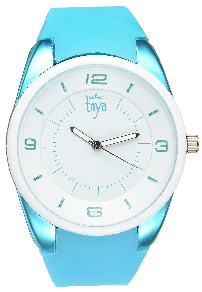Часы наручные женские Taya, цвет: белый, бирюзовый. T-W-0250BM8434-58AEСтильные женские часы Taya выполнены из минерального стекла, силикона и нержавеющей стали. Циферблат часов украшен символикой бренда.Корпус часов оснащен кварцевым механизмом со сменным элементом питания, а также дополнен силиконовым ремешком, который застегивается на пряжку. На стрелки нанесен светящийся состав.Часы поставляются в фирменной упаковке.Часы Taya подчеркнут изящность женской руки и отменное чувство стиля у их обладательницы.