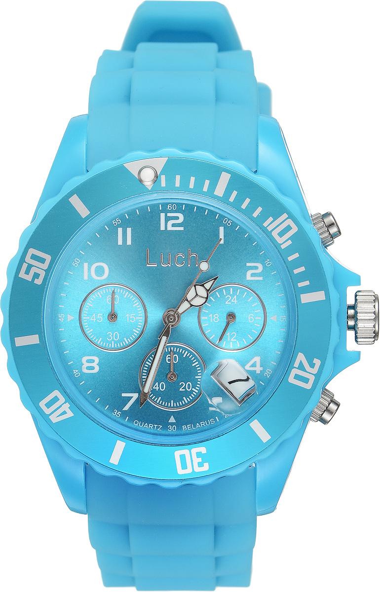 Часы наручные мужские Луч, цвет: голубой. 728885021BM8434-58AEСтильные женские часы Луч выполнены из пластика и силикона. Циферблат оформлен символикой бренда и дополнен индикатором даты, секундомером и индикатором суточного времени.Корпус часов оснащен кварцевым механизмом со сменным элементом питания, а также дополнен браслетом, который застегивается на практичную пряжку. На стрелки нанесен светящийся состав.Часы поставляются в фирменной упаковке.Часы Луч подчеркнут отменное чувство стиля их обладателя.