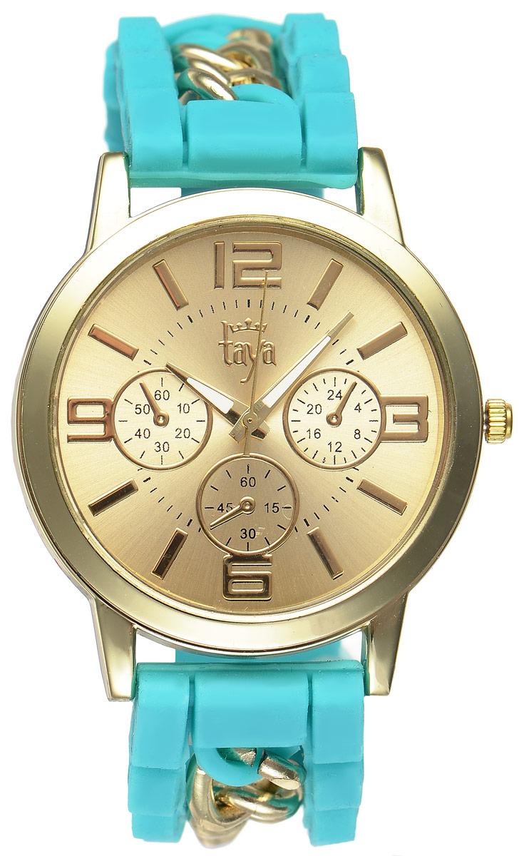 Часы наручные женские Taya, цвет: золотистый, бирюзовый. T-W-0223BM8434-58AEСтильные женские часы Taya выполнены из минерального стекла, силикона и нержавеющей стали. Циферблат часов оформлен символикой бренда и тремя декоративными отметками.Корпус оснащен кварцевым механизмом со сменным элементом питания. На стрелки нанесен светящийся состав. Браслет выполнен из силикона, застегивается на практичную пряжку и декорирован цепочками.Изделие поставляется в фирменной упаковке.Часы Taya подчеркнут изящность женской руки и отменное чувство стиля у их обладательницы.