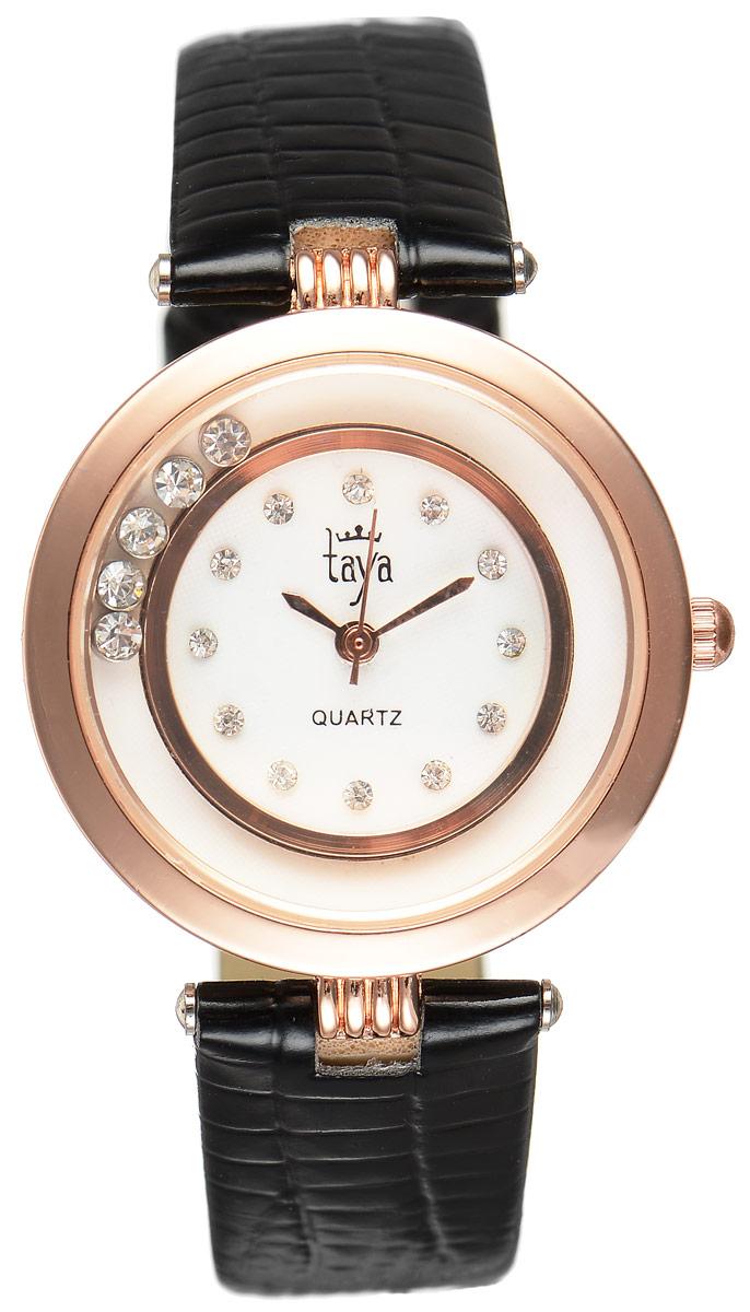 Часы наручные женские Taya, цвет: золотистый, черный. T-W-0024BM8434-58AEЭлегантные женские часы Taya выполнены из минерального стекла, искусственной кожи и нержавеющей стали. Циферблат инкрустирован стразами и дополнен символикой бренда. Корпус часов оформлен пятью стразами, перемещающимися по окружности.Корпус часов оснащен кварцевым механизмом со сменным элементом питания, а также дополнен ремешком из искусственной кожи, который застегивается на пряжку. Ремешок декорирован тиснением под кожу рептилии.Часы поставляются в фирменной упаковке.Часы Taya подчеркнут изящность женской руки и отменное чувство стиля у их обладательницы.