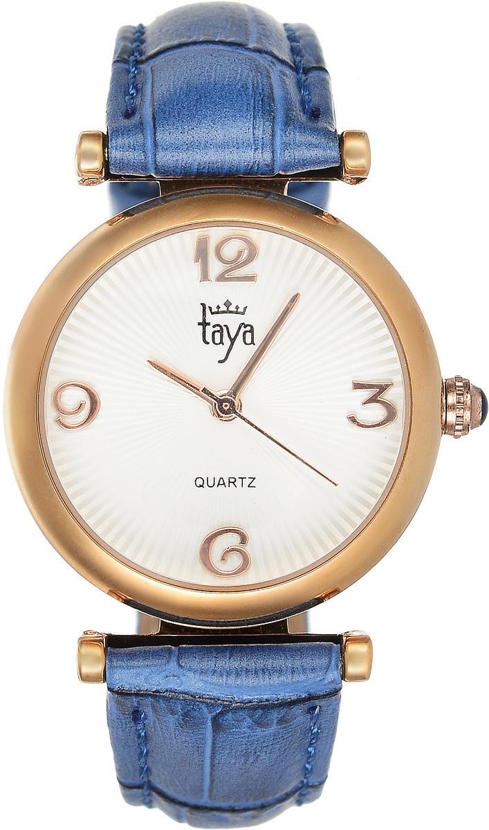 Часы наручные женские Taya, цвет: золотистый, синий. T-W-0017ML597BUL/DЭлегантные женские часы Taya выполнены из минерального стекла, натуральной кожи и нержавеющей стали. Циферблат часов украшен символикой бренда.Корпус часов оснащен кварцевым механизмом со сменным элементом питания, а также дополнен ремешком из натуральной кожи, который застегивается на пряжку. Ремешок декорирован тиснением под кожу рептилии.Часы поставляются в фирменной упаковке.Часы Taya подчеркнут изящность женской руки и отменное чувство стиля у их обладательницы.