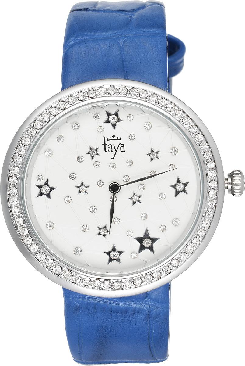 Часы наручные женские Taya, цвет: серебристый, синий. T-W-0011BM8434-58AEЭлегантные женские часы Taya выполнены из минерального стекла, натуральной кожи и нержавеющей стали. Циферблат и корпус часов украшены стразами и символикой бренда.Корпус часов оснащен кварцевым механизмом со сменным элементом питания, а также дополнен ремешком из натуральной кожи, который застегивается на пряжку. Ремешок декорирован тиснением под кожу рептилии.Часы поставляются в фирменной упаковке.Часы Taya подчеркнут изящность женской руки и отменное чувство стиля у их обладательницы.