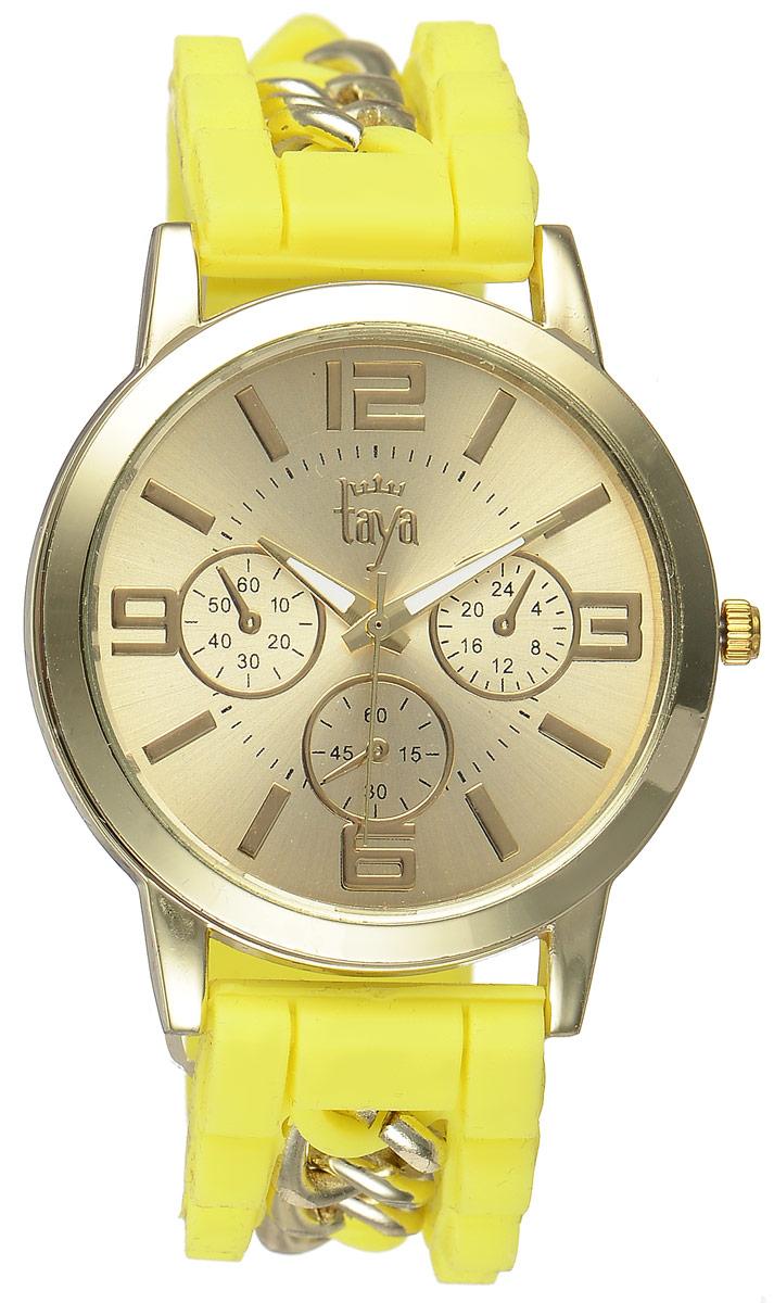 Часы наручные женские Taya, цвет: золотистый, желтый. T-W-0221BM8434-58AEСтильные женские часы Taya выполнены из минерального стекла, силикона и нержавеющей стали. Циферблат часов оформлен символикой бренда и тремя декоративными отметками.Корпус оснащен кварцевым механизмом со сменным элементом питания. На стрелки нанесен светящийся состав. Браслет выполнен из силикона, застегивается на практичную пряжку и декорирован цепочками.Изделие поставляется в фирменной упаковке.Часы Taya подчеркнут изящность женской руки и отменное чувство стиля у их обладательницы.