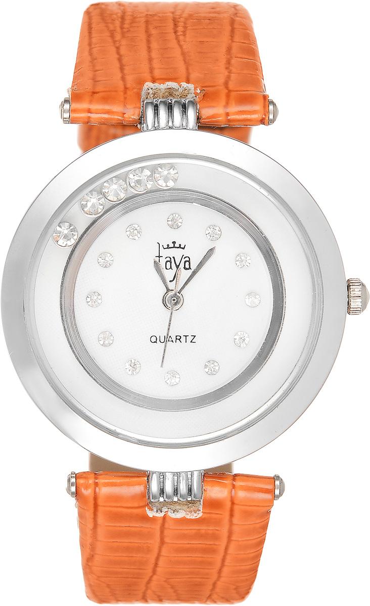 Часы наручные женские Taya, цвет: серебристый, оранжевый. T-W-00194106черныеЭлегантные женские часы Taya выполнены из минерального стекла, искусственной кожи и нержавеющей стали. Циферблат инкрустирован стразами и дополнен символикой бренда. Корпус часов оформлен пятью стразами, перемещающимися по окружности.Корпус часов оснащен кварцевым механизмом со сменным элементом питания, а также дополнен ремешком из искусственной кожи, который застегивается на пряжку. Ремешок декорирован тиснением под кожу рептилии.Часы поставляются в фирменной упаковке.Часы Taya подчеркнут изящность женской руки и отменное чувство стиля у их обладательницы.