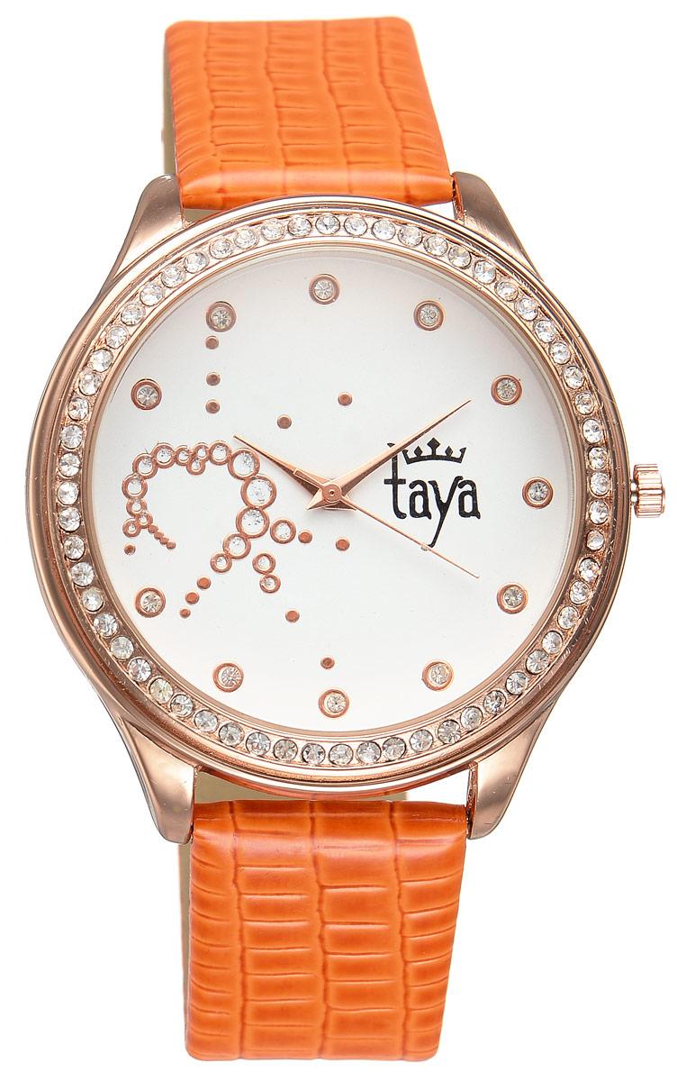 Часы наручные женские Taya, цвет: золотистый, оранжевый. T-W-0029BM8434-58AEЭлегантные женские часы Taya выполнены из минерального стекла, искусственной кожи и нержавеющей стали. Циферблат инкрустирован стразами внутри и по внешней стороне окружности.Корпус часов оснащен кварцевым механизмом со сменным элементом питания, а также дополнен ремешком из искусственной кожи, который застегивается на пряжку. Ремешок декорирован тиснением под кожу рептилии.Часы поставляются в фирменной упаковке.Часы Taya подчеркнут изящность женской руки и отменное чувство стиля у их обладательницы.
