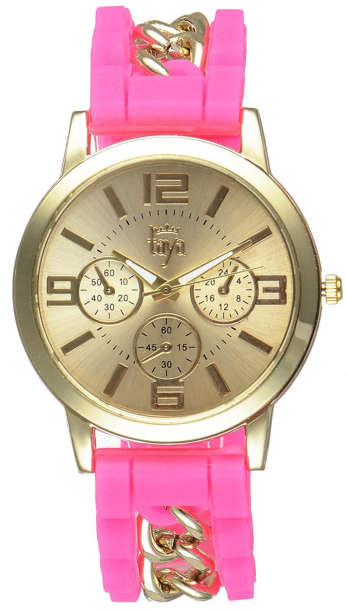 Часы наручные женские Taya, цвет: золотистый, фуксия. T-W-0222BM8434-58AEСтильные женские часы Taya выполнены из минерального стекла, силикона и нержавеющей стали. Циферблат часов оформлен символикой бренда и тремя декоративными отметками.Корпус оснащен кварцевым механизмом со сменным элементом питания. На стрелки нанесен светящийся состав. Браслет выполнен из силикона, застегивается на практичную пряжку и декорирован цепочками.Изделие поставляется в фирменной упаковке.Часы Taya подчеркнут изящность женской руки и отменное чувство стиля у их обладательницы.