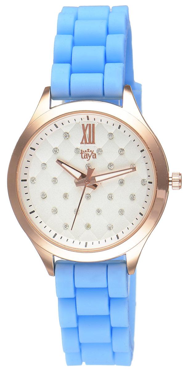 Часы наручные женские Taya, цвет: золотистый, голубой. T-W-0200BM8434-58AEСтильные женские часы Taya выполнены из минерального стекла, силикона и нержавеющей стали. Циферблат инкрустирован стразами и оформлен символикой бренда.Корпус часов оснащен кварцевым механизмом со сменным элементом питания, а также силиконовым ремешком с практичной пряжкой. На стрелки нанесен светящийся состав.Часы поставляются в фирменной упаковке.Часы Taya подчеркнут изящность женской руки и отменное чувство стиля у их обладательницы.