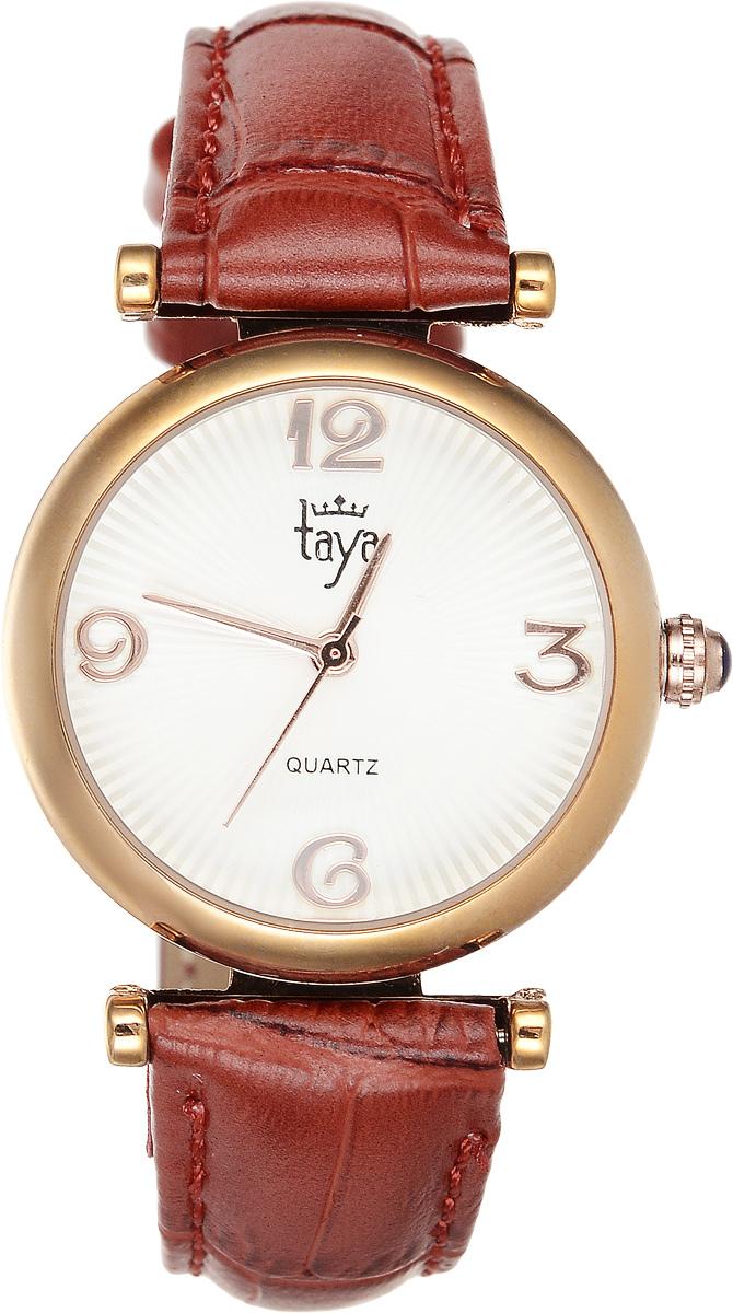Часы наручные женские Taya, цвет: золотистый, терракотовый. T-W-0014BM8434-58AEЭлегантные женские часы Taya выполнены из минерального стекла, натуральной кожи и нержавеющей стали. Циферблат часов украшен символикой бренда.Корпус часов оснащен кварцевым механизмом со сменным элементом питания, а также дополнен ремешком из натуральной кожи, который застегивается на пряжку. Кожаный ремешок декорирован тиснением под кожу рептилии.Часы поставляются в фирменной упаковке.Часы Taya подчеркнут изящность женской руки и отменное чувство стиля у их обладательницы.