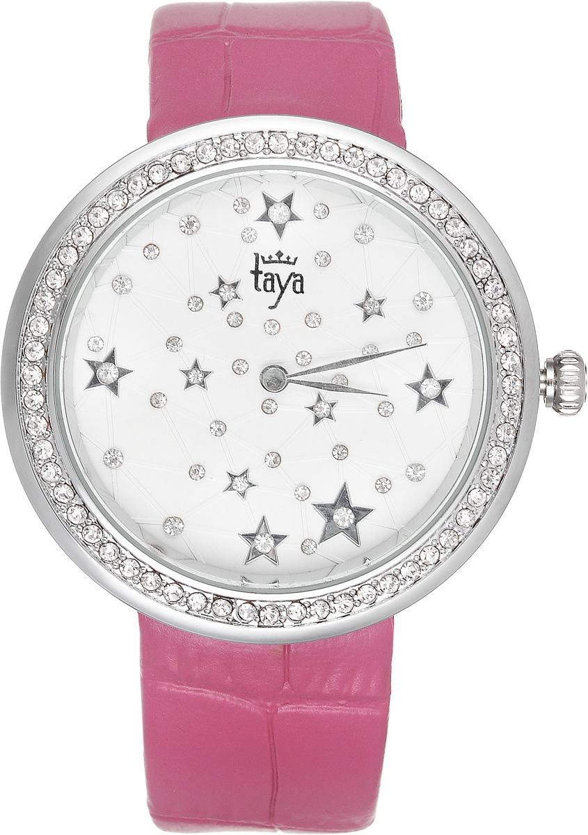Часы наручные женские Taya, цвет: серебристый, фуксия. T-W-0012BM8434-58AEЭлегантные женские часы Taya выполнены из минерального стекла, натуральной кожи и нержавеющей стали. Циферблат с символикой бренда и корпус часов украшены стразами.Корпус часов оснащен кварцевым механизмом со сменным элементом питания, а также дополнен ремешком из натуральной кожи, который застегивается на пряжку. Ремешок декорирован тиснением под кожу рептилии.Часы поставляются в фирменной упаковке.Часы Taya подчеркнут изящность женской руки и отменное чувство стиля у их обладательницы.