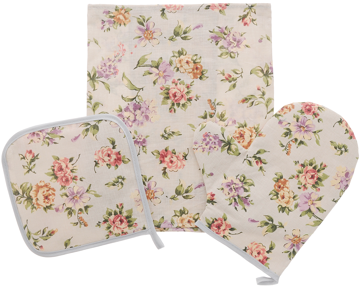 Набор кухонный Roko Вальс цветов, 3 предмета545217Кухонный набор Roko Вальс цветов, выполненный из 50% хлопка и 50% льна, состоит из прихватки, прямоугольного полотенца и прихватки-рукавицы. Предметы набора оформлены красочным принтом. Полотенце прекрасно впитывает влагу, легко стирается, хорошо сохраняет форму и цвет. Прихватки удобные, мягкие и практичные. Они защитят ваши руки и предотвратят появление ожогов. С помощью текстильной петельки прихватки можно подвесить на крючок.Такой комплект прекрасно сочетается с фартуком, скатертью и силиконовой рукавицей в аналогичном дизайне, что делает его стильным и полезным подарком для каждой хозяйки. Кухонный набор Roko Вальс цветов станет незаменимым помощником на вашей кухне. Яркий и оригинальный дизайн вдохновит вас на новые кулинарные шедевры. Размер полотенца: 60 х 30 см. Размер прихватки: 17 х 17 см. Размер варежки-прихватки: 23 х 21 см.