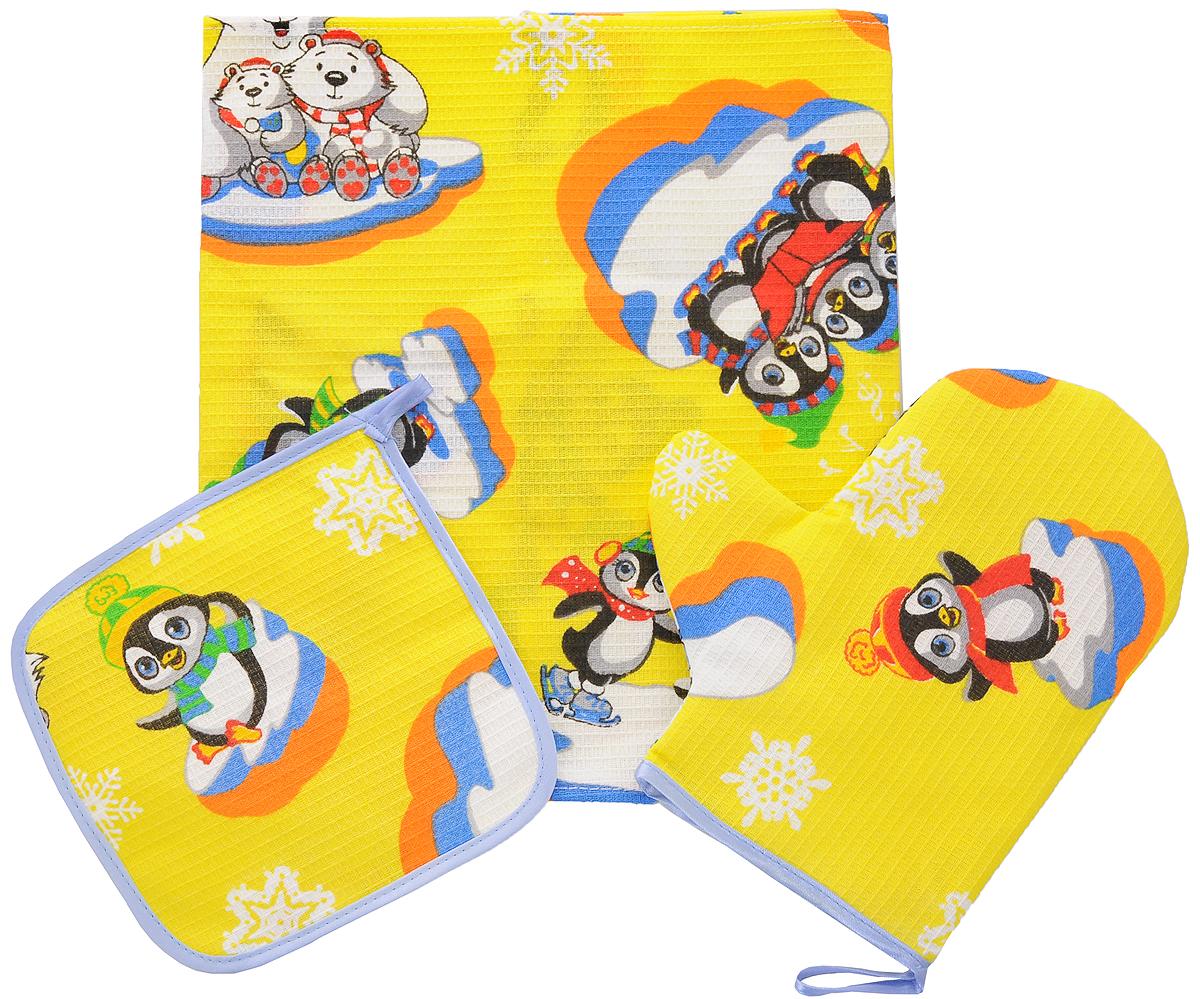 Набор кухонный Roko Мечта хозяйки, 3 предмета115510Кухонный набор Roko Мечта хозяйки, выполненный из натурального 100% хлопка, состоит из прихватки, прямоугольного полотенца и прихватки-рукавицы. Предметы набора оформлены красочным принтом. Полотенце прекрасно впитывает влагу, легко стирается, хорошо сохраняет форму и цвет. Прихватки удобные, мягкие и практичные. Они защитят ваши руки и предотвратят появление ожогов. С помощью текстильной петельки прихватки можно подвесить на крючок.Такой комплект прекрасно сочетается с фартуком, скатертью и силиконовой рукавицей в аналогичном дизайне, что делает его стильным и полезным подарком для каждой хозяйки. Кухонный набор Roko Мечта хозяйки станет незаменимым помощником на вашей кухне. Яркий и оригинальный дизайн вдохновит вас на новые кулинарные шедевры. Размер полотенца: 60 х 30 см. Размер прихватки: 17 х 17 см. Размер варежки-прихватки: 23 х 20 см.