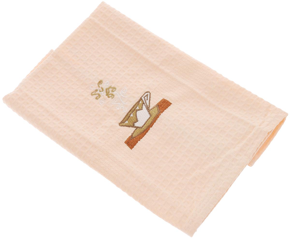 Полотенце кухонное Soavita, цвет: светло-персиковый, 60 х 40 см. 4880461224Кухонное полотенце Soavita, выполненное из 100% хлопка, оформлено вышитым рисунком в виде чашки с блюдцем. Изделие предназначено для использования на кухне и в столовой.Такое полотенце станет отличным вариантом для практичной и современной хозяйки.Рекомендуется стирка при температуре 40°C.