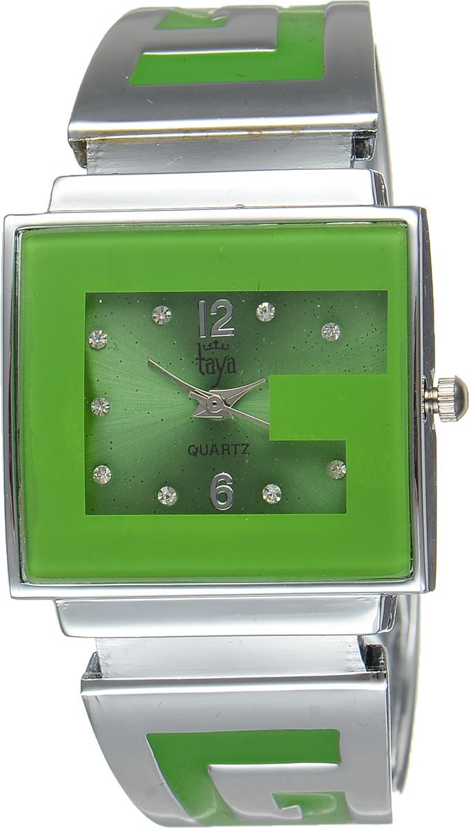 Часы наручные женские Taya, цвет: серебристый, зеленый. T-W-0401BM8434-58AEСтильные женские часы Taya выполнены из минерального стекла и нержавеющей стали. Циферблат часов инкрустирован стразами и украшен символикой бренда.Корпус часов оснащен кварцевым механизмом со сменным элементом питания, а также дополнен раздвижным браслетом с пружинным механизмом, который позволяет надеть часы на любую руку. Браслет оформлен цветной эмалью.Часы поставляются в фирменной упаковке.Часы Taya подчеркнут изящность женской руки и отменное чувство стиля у их обладательницы.