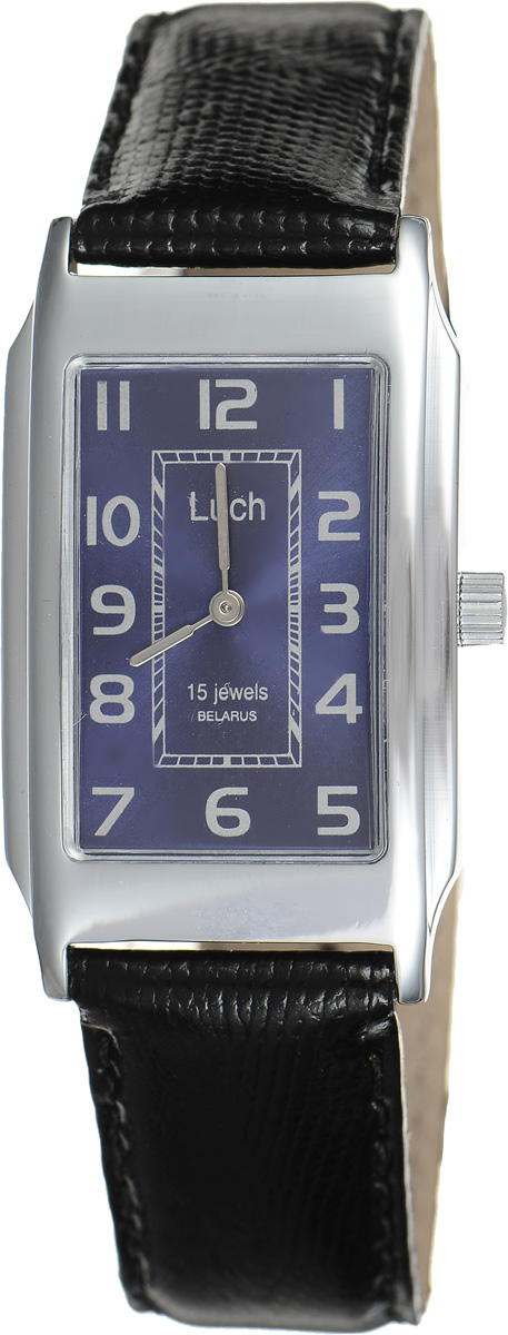 Часы наручные женские Луч, цвет: серебряный, черный. 75571180BM8434-58AEСтильные часы Луч выполнены из металлического сплава и органического стекла. Корпус имеет покрытие из хрома, которое обладает особой стойкостью к стиранию. Прямоугольный циферблат оформлен символикой бренда.Механические часы с 15 рубиновыми камнями и противоударным устройством оси баланса дополнены ремешком из натуральной кожи с лаковым покрытием и декоративным тиснением, который застегивается на практичную пряжку.Часы поставляются в фирменной упаковке.Часы Луч подчеркнут изящность женской руки и отменное чувство стиля у их обладательницы.