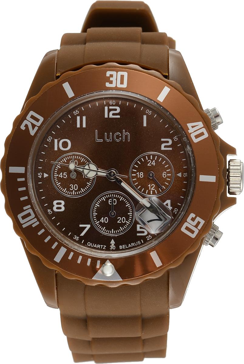 Часы наручные мужские Луч, цвет: коричневый. 728885024BM8434-58AEСтильные часы Луч выполнены из пластика и силикона. Циферблат оформлен символикой бренда и дополнен индикатором даты, секундомером и индикатором суточного времени.Корпус часов оснащен кварцевым механизмом со сменным элементом питания, а также дополнен браслетом, который застегивается на практичную пряжку. На стрелки нанесен светящийся состав.Часы поставляются в фирменной упаковке.Часы Луч подчеркнут отменное чувство стиля их обладателя.